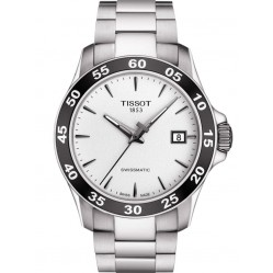 Tissot Mens V8 Swissmatic White Dial Black Bezel Bracelet Watch T106.407.11.031.00