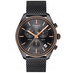 Tissot Mens PR100 Chronograph Gun Metal & Rose PVD Mesh Bracelet Watch T101.417.23.061.00