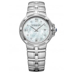 Raymond Weil Ladies Parsifal Classic Mother Of Pearl Diamond Set Dial Bracelet Watch 5180-STS-00995
