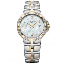 Raymond Weil Ladies Parsifal Two Tone Classic Mother Of Pearl Diamond Set Dial Bracelet Watch 5180-SPS-00995