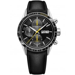 Raymond Weil Mens Freelancer Black Leather Strap Watch 7731-SC1-20121