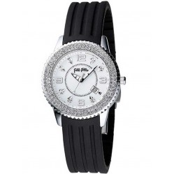 Folli Follie Ladies Black Strap Watch 6015.1018