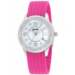Folli Follie Ladies Pink Rubber Stone Set Watch 6015.0924