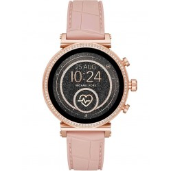 Michael Kors Ladies Access Sofie Gen 4 Rose Gold Plated Crystal Bezel Pink Rubber Strap Smartwatch MKT5068