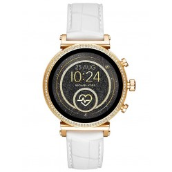 Michael Kors Ladies Access Sofie Gen 4 Gold Plated Crystal Bezel White Rubber Strap Smartwatch MKT5067
