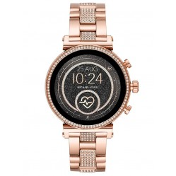 Michael Kors Ladies Access Sofie Gen 4 Rose Gold Plated Crystal Set Bracelet Smartwatch MKT5066