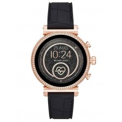 Michael Kors Ladies Access Sofie Gen 4 Rose Gold Plated Crystal Bezel Black Rubber Strap Smartwatch MKT5069