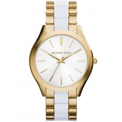 Michael Kors Ladies Runway Gold Plated Acrylic Bracelet Watch MK4295