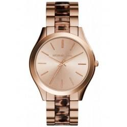 Michael Kors Ladies Runway Rose Gold Plated Tortoiseshell Acrylic Bracelet Watch MK4301