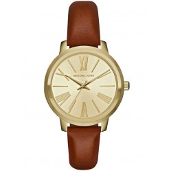 Michael Kors Ladies Hartman Gold Plated Brown Leather Strap Watch MK2521
