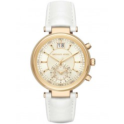 Michael Kors Ladies Sawyer Gold Plated Chronograph White Leather Strap Watch MK2528