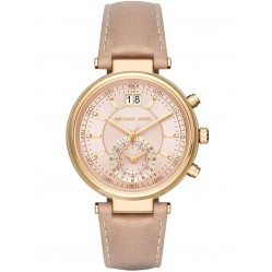Michael Kors Ladies Sawyer Gold Plated Chronograph Brown Leather Strap Watch MK2529