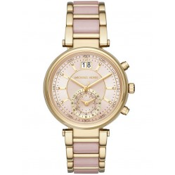 Michael Kors Ladies Sawyer Gold Plated Chronograph Pink Bracelet Watch MK6360