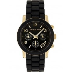 Michael Kors Ladies Runway Gold Plated Black Chronograph Watch MK5191