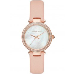 Michael Kors Ladies Mini Parker Pink Leather Strap Watch MK2590