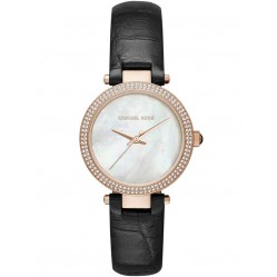 Michael Kors Ladies Mini Parker Black Leather Strap Watch MK2591
