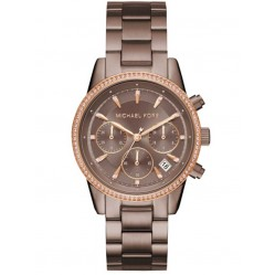 Michael Kors Ladies Ritz Brown Bracelet Watch MK6529