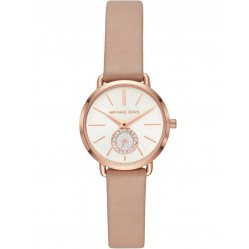Michael Kors Portia Rose Gold Plated Pink Leather Strap Watch MK2752