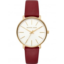 Michael Kors Pyper Gold Plated Red Leather Strap Watch MK2749