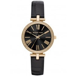 Michael Kors Ladies Maci Gold-Tone Black Narrow Leather Strap Watch MK2789