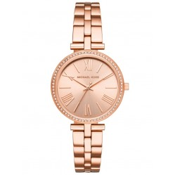 Michael Kors Ladies Maci Rose-Tone Narrow Bracelet Watch MK3904