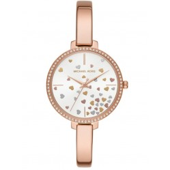 Michael Kors Ladies Jaryn Rose-Tone Scattered Hearts Bracelet Watch MK3978