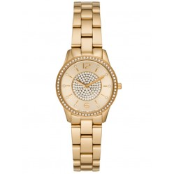 Michael Kors Ladies Petite Runway Gold-Tone Pave Bracelet Watch MK6618