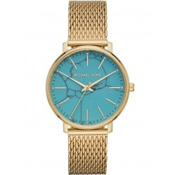 Michael Kors Ladies Pyper Gold Plated Turquoise Dial Mesh Strap Watch MK4393