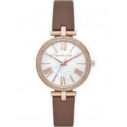 Michael Kors Ladies Maci Rose Gold Plated Mother Of Pearl Crystal Set Dial Brown Leather Strap Watch MK2832