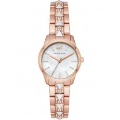 Michael Kors Ladies Runway Mercer Rose Gold Plated Mother Of Pearl Dial Crystal Set Bracelet Watch MK6674
