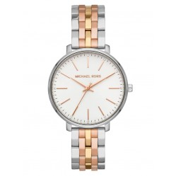 Michael Kors Ladies Pyper Three Tone Colour White Dial Bracelet Watch MK3901