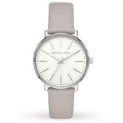 Michael Kors Ladies Pyper White Dial Grey Leather Strap Watch MK2797