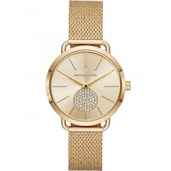 Michael Kors Ladies Portia Gold Plated Gold Crystal Set Dial Mesh Strap Watch MK3844