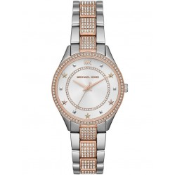 Michael Kors Ladies Lauryn Two Tone White Dial Crystal Set Bracelet Watch MK4388