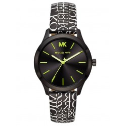 Michael Kors Ladies Runway Black Dial Text Print Leather Strap Watch MK2847