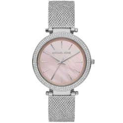 Michael Kors Ladies Darci Stainless Steel Pink Mother Of Pearl Dial Crystal Set Bezel Mesh Strap Watch MK4518