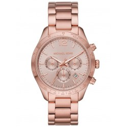 Michael Kors Ladies Layton Rose Chronograph Dial Rose Gold Plated Bracelet Watch MK6796