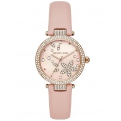 Michael Kors Ladies Parker Rose Gold Plated Crystal Set Dial Pink Leather Strap Watch MK6808