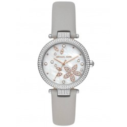 Michael Kors Ladies Parker Stainless Steel Crystal Set Dial Grey Leather Strap Watch MK6807