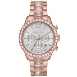 Michael Kors Ladies Layton Silver Chronograph Dial Crystal Set Rose Gold Plated Bracelet Watch MK6791