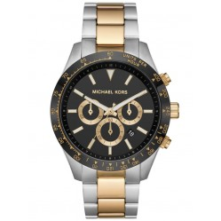 Michael Kors Mens Layton Black Chronograph Dial Stainless Steel Two Tone Bracelet Watch MK8784
