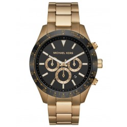 Michael Kors Mens Layton Black Chronograph Dial Gold Plated Bracelet Watch MK8783