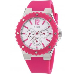 Guess Ladies Pink Rubber Strap Watch W90084L2