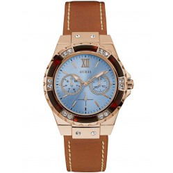 Guess Ladies Limelight Brown Leather Strap Watch W0775L7