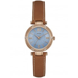 Guess Ladies Park Avenue South Brown Leather Strap Watch W0838L2