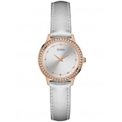 Guess Ladies Chelsea Grey Leather Strap Watch W0648L11