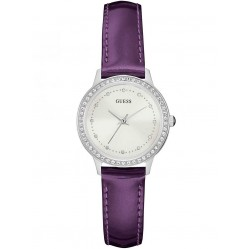 Guess Ladies Chelsea Purple Leather Strap Watch W0648L10
