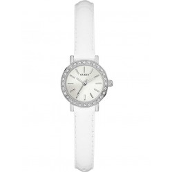 Guess Ladies Stella White Leather Strap Watch W0885L1