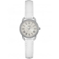 Guess Ladies White Leather Strap Watch W0959L1
