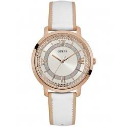 Guess Ladies Rose Gold Plated White Leather Strap Watch W0934L1
